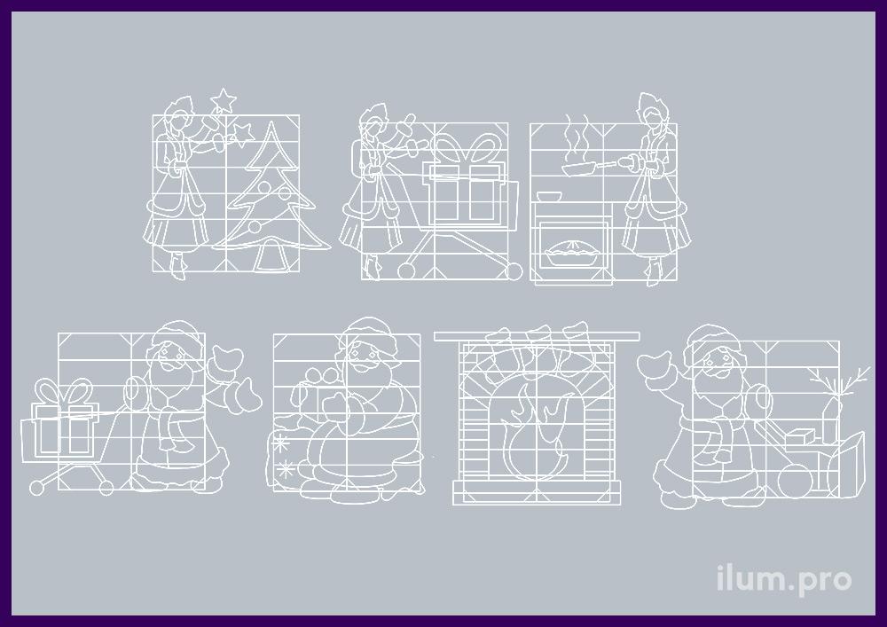 Производство и монтаж новогодней иллюминации в Москве, комплект освещения гипермаркета