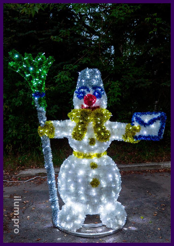 Снеговик светодиодный из мишуры и гирлянд для парков и скверов, а также интерьера