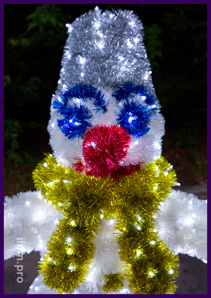 Снеговик из мишуры и гирлянд для улицы и интерьера, новогодние декорации с подсветкой