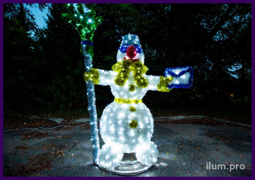 Светодиодная фигура снеговика с мишурой, сказочный персонаж с конвертом и метлой