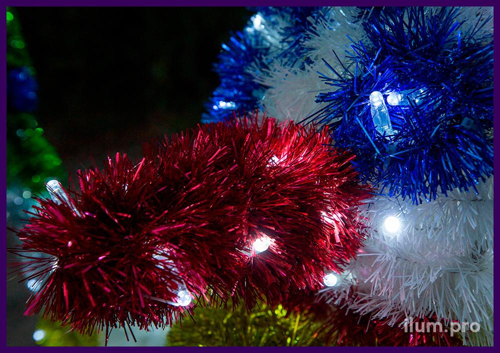 Снеговик светодиодный разноцветный - уличная иллюминация с мишурой и гирляндами IP65
