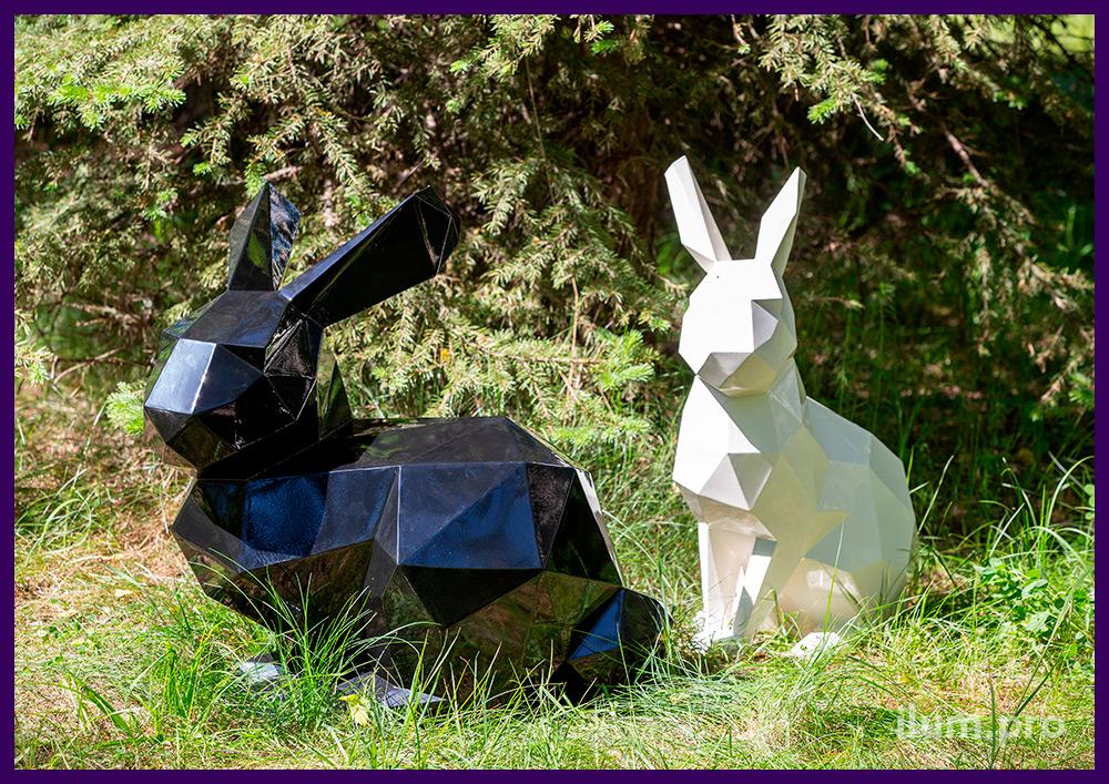 Полигональные зайцы разных цветов, арт-объекты для благоустройства территории