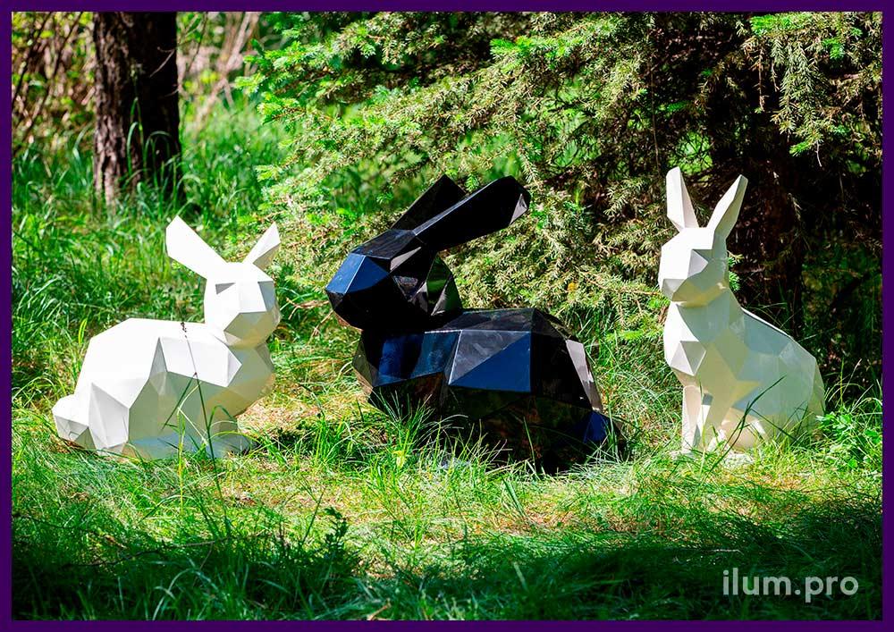 Металлические фигуры зайцев - полигональные скульптуры для улицы и интерьера