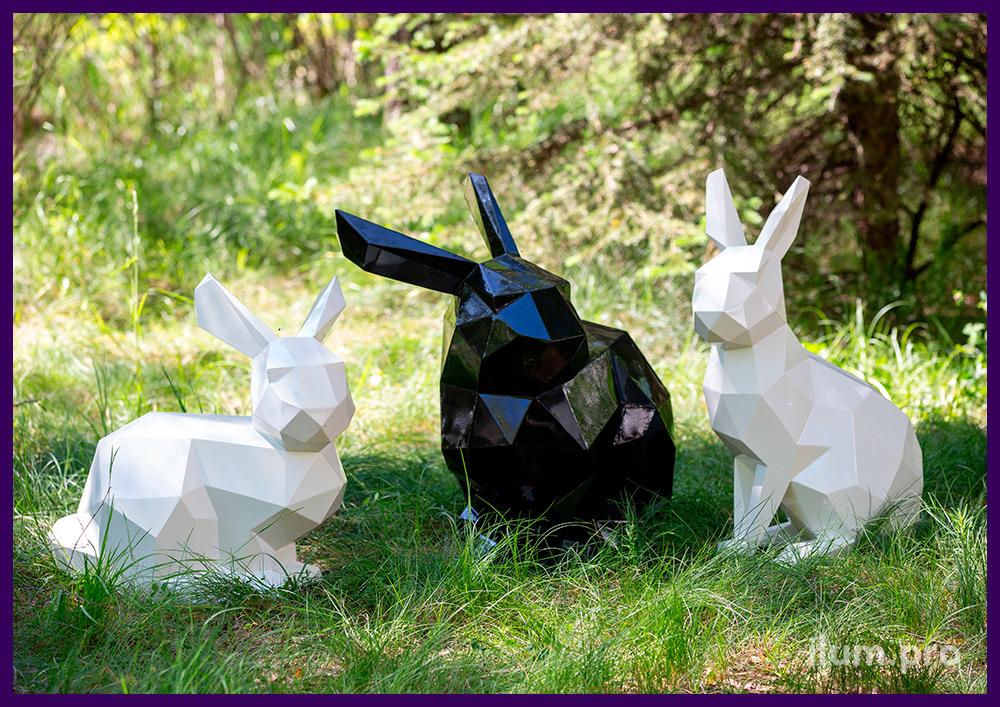 Зайцы полигональные металлические, объёмные арт-объекты для украшения ландшафта