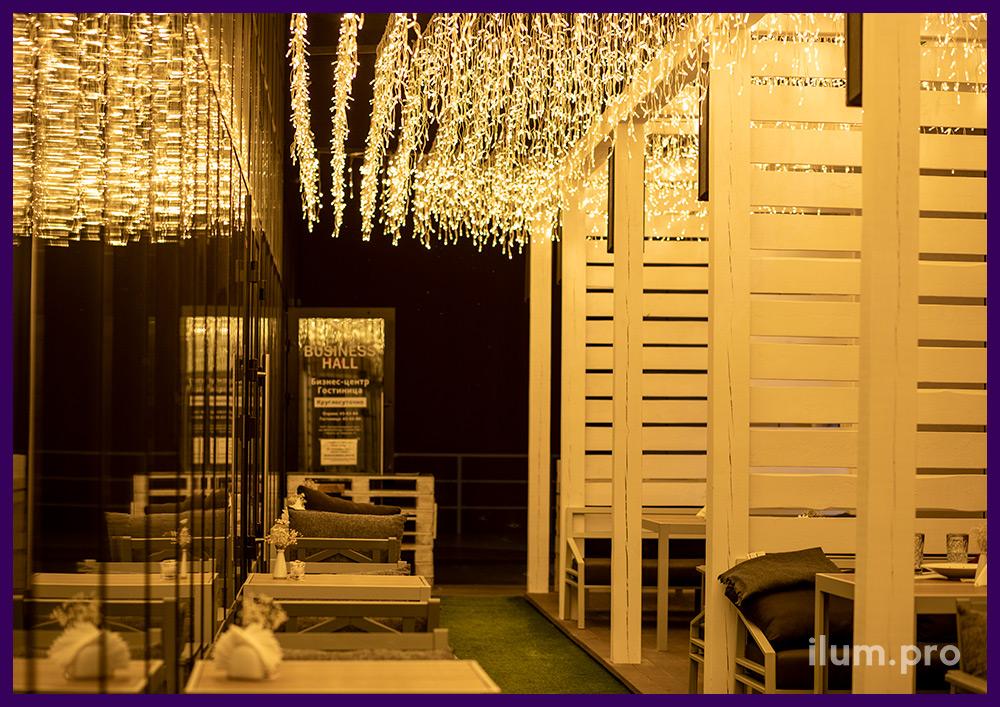 Тёпло-белая светодиодная гирлянда для ресторана в Иркутске, профессиональная иллюминация