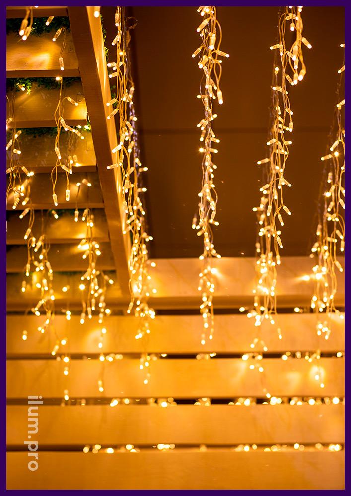 Украшение гирляндами летней террасы ресторана, светодиодная бахрома для улицы