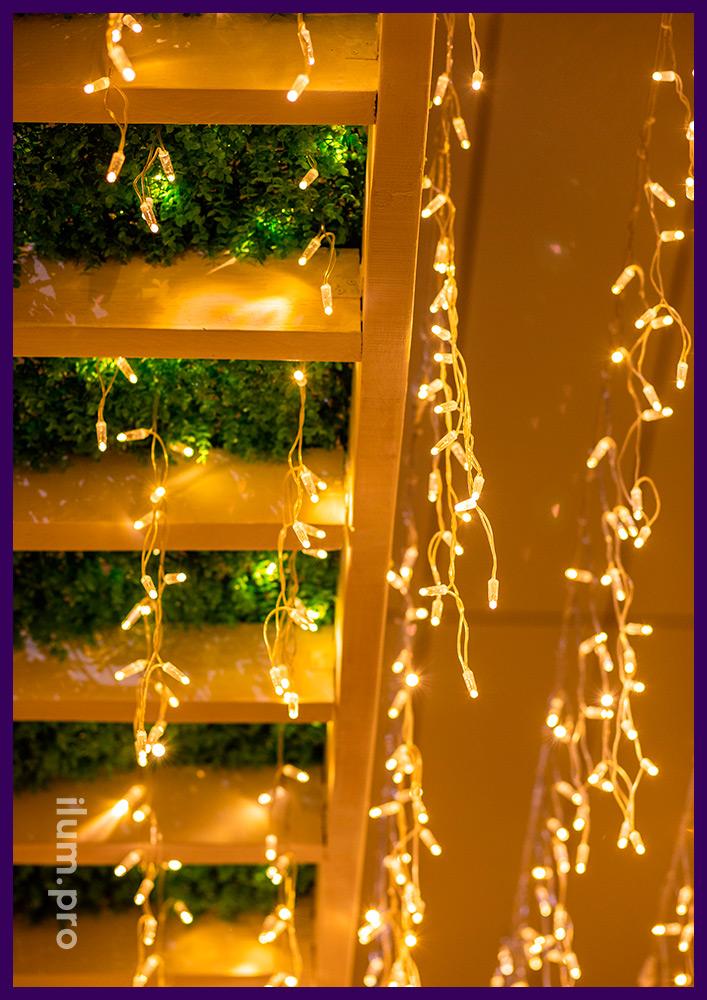 Бахрома светодиодная тёпло-белая на прозрачном проводе для бара в Иркутске