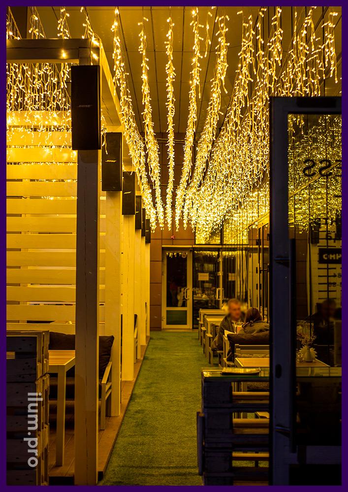 Украшение ресторана гирляндами тёплых оттенков, светодиодная иллюминация в Иркутске