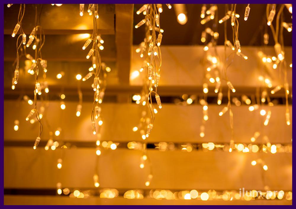 Подсветка летнего ресторана в Иркутске, бахрома с прозрачным проводом из ПВХ