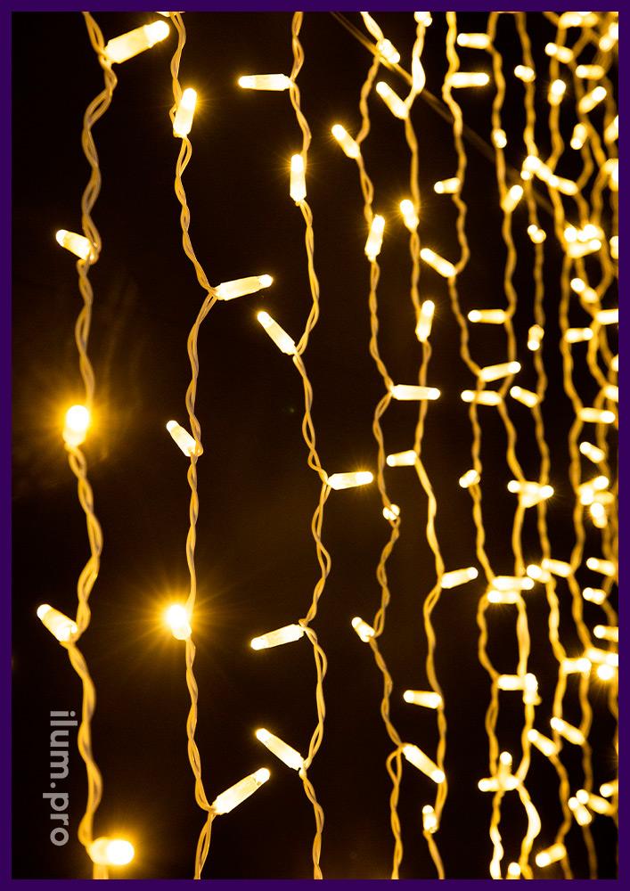 Тёпло-белый светодиодный дождь статического свечения на белом проводе из ПВХ, 2х3 метра
