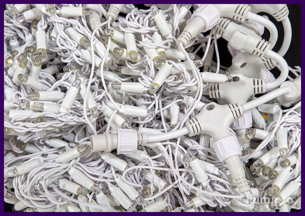 Профессиональный светодиодный занавес 2*3 метра тёпло-белого цвета свечения, провод из белого ПВХ и силикона