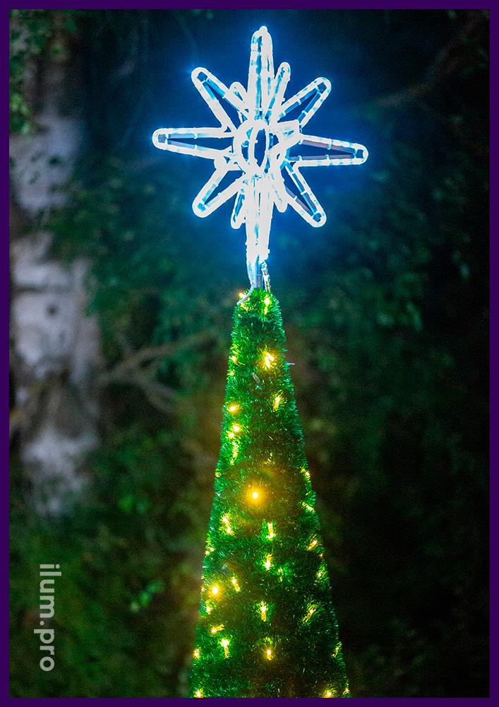 Макушки светодиодные на конусе с мишурой и гирляндами - новогодние декорации
