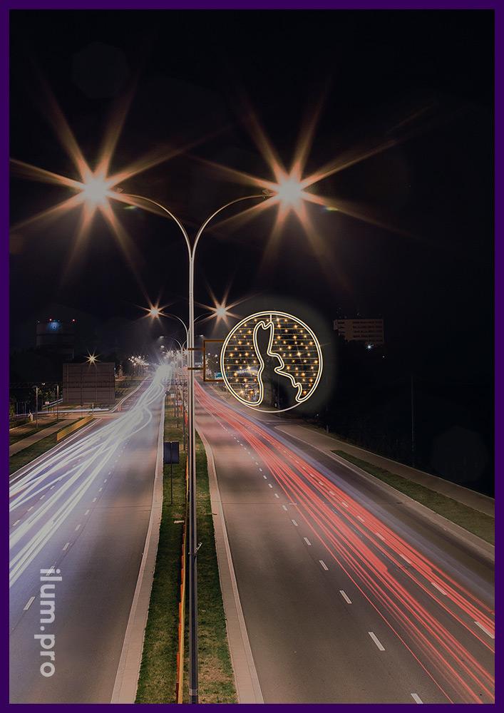 Заяц светодиодный на фонаре - консоль круглая со светодиодным дюралайтом и стрингом
