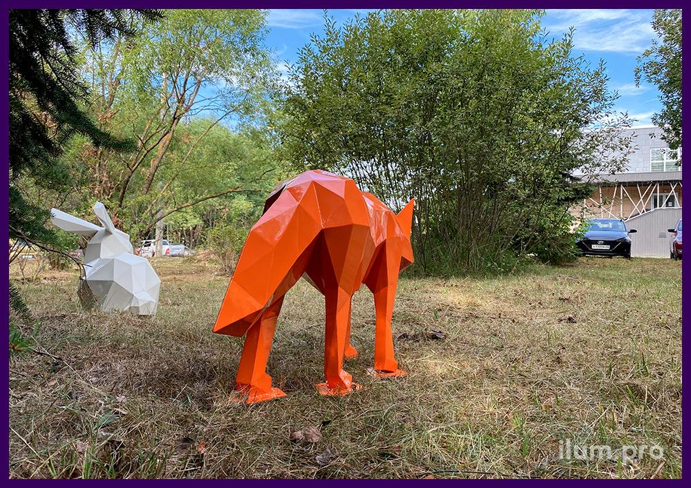 Объёмные полигональные скульптуры лисы и зайца из стали с порошковой краской