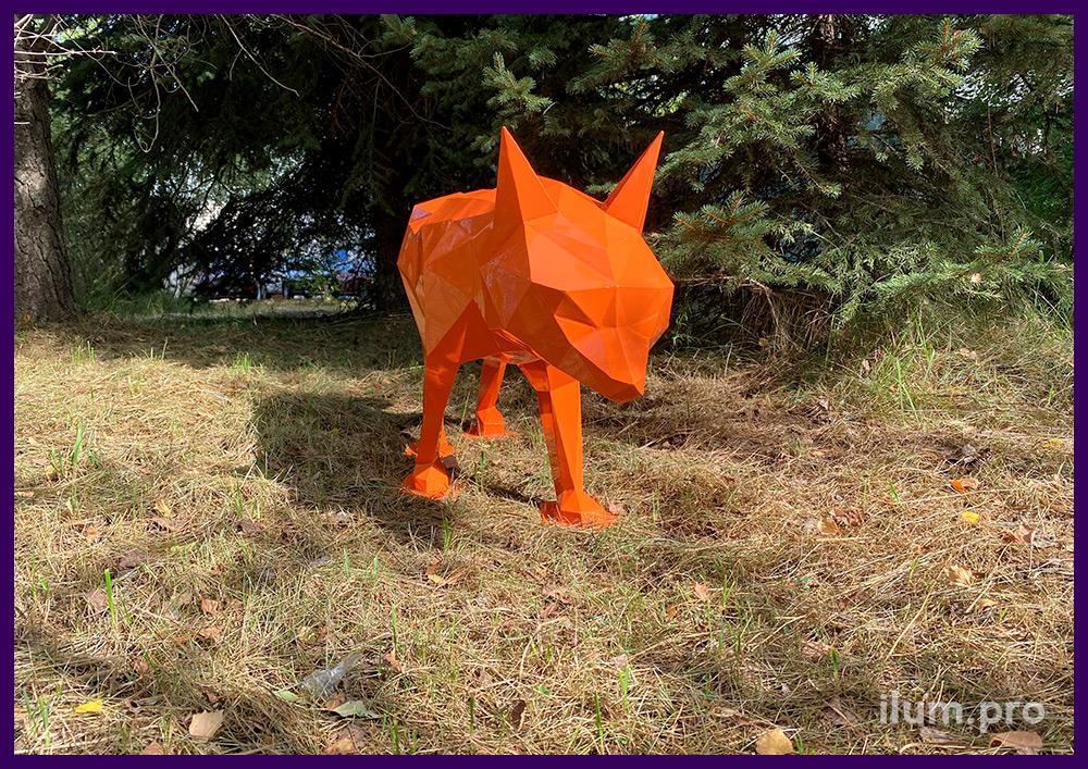 Фигура полигональная металлическая в форме лисы с оранжевым каркасом