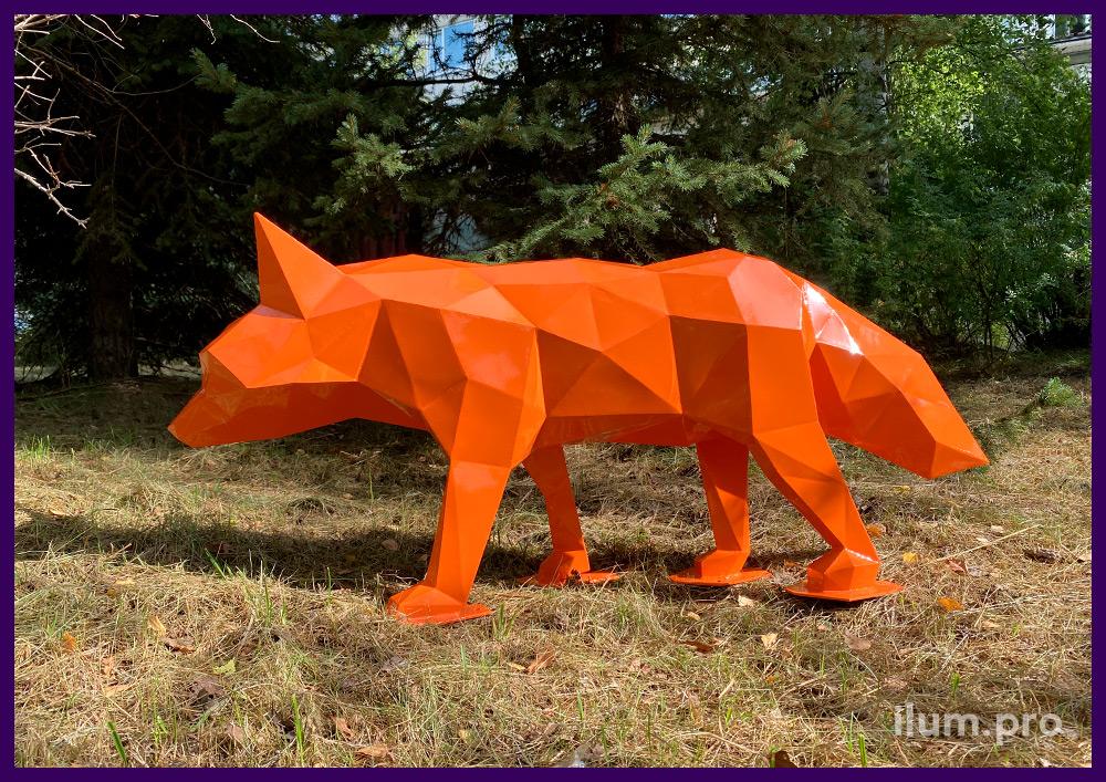 Установка полигональной скульптуры в парке, металлическая лиса с покрытием порошковой краской