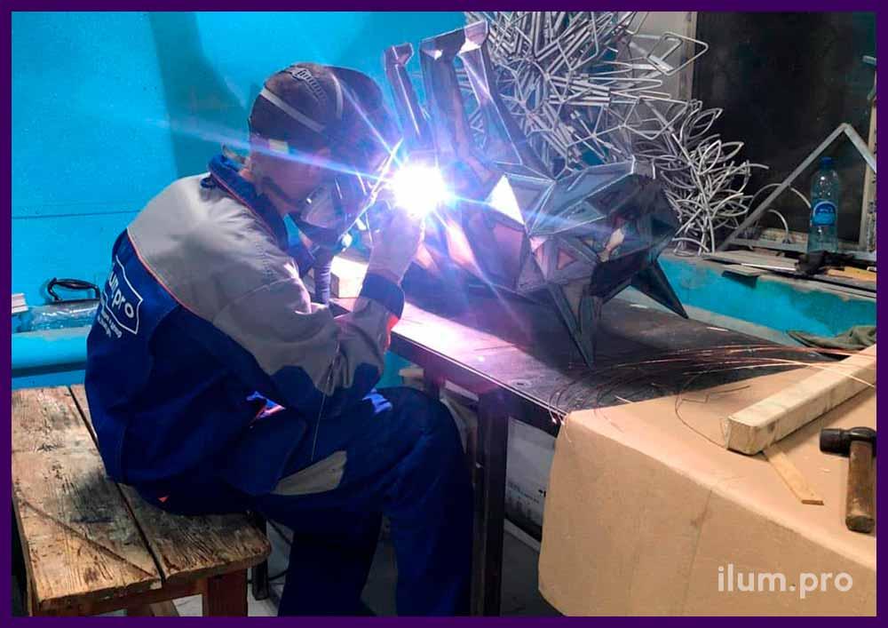 Производство металлического полигонального арт-объекта в форме лисы