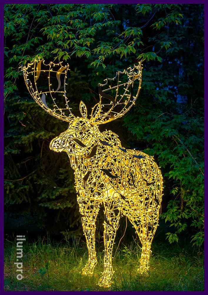 Большой светодиодный лось из гирлянд, декоративные фигуры животных для парков