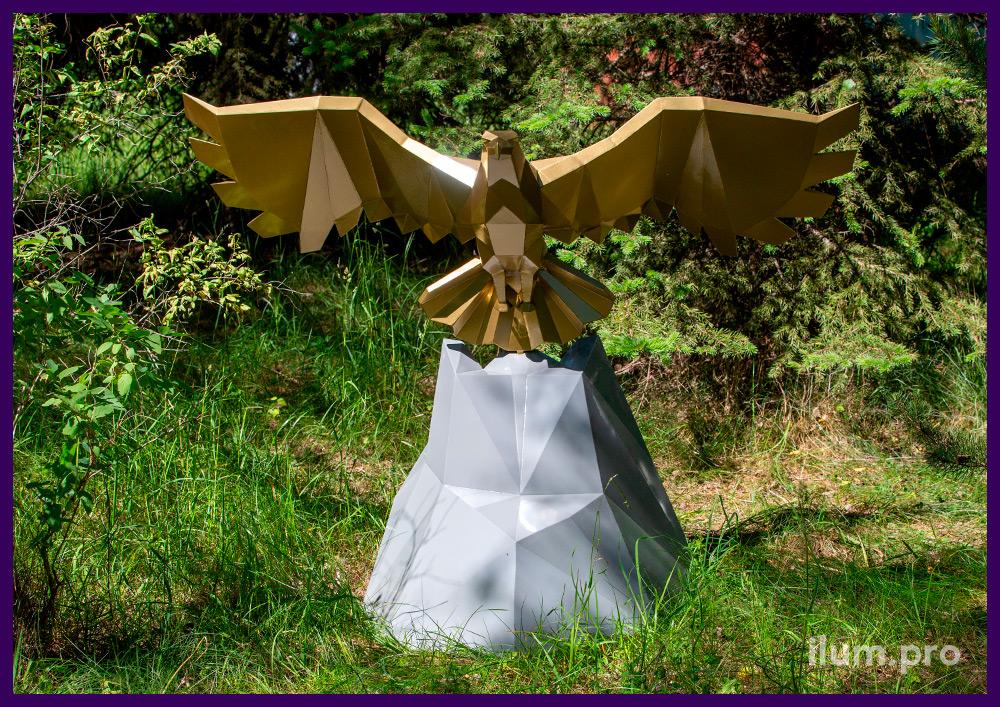 Фигура полигональная из стали с порошковым окрашиванием - парящий над горой орёл