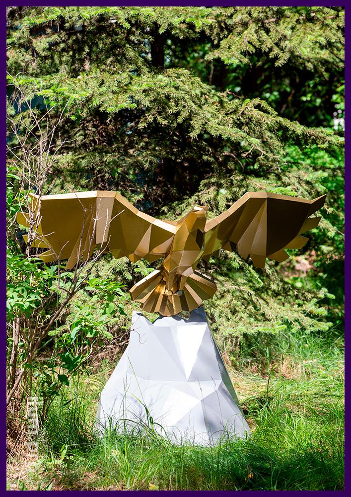 Золотой орёл, полигональная фигура из ХК стали с порошковой краской