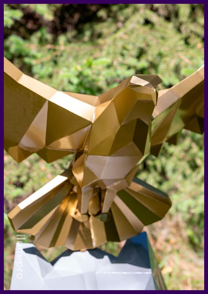 Орёл полигональный металлический - фигура для украшения ландшафта или интерьера