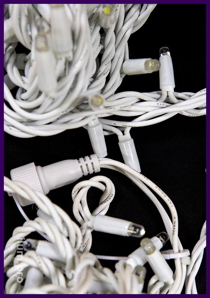 Нить светодиодная с белыми диодами, белый провод из каучука для улицы и интерьера, мерцание