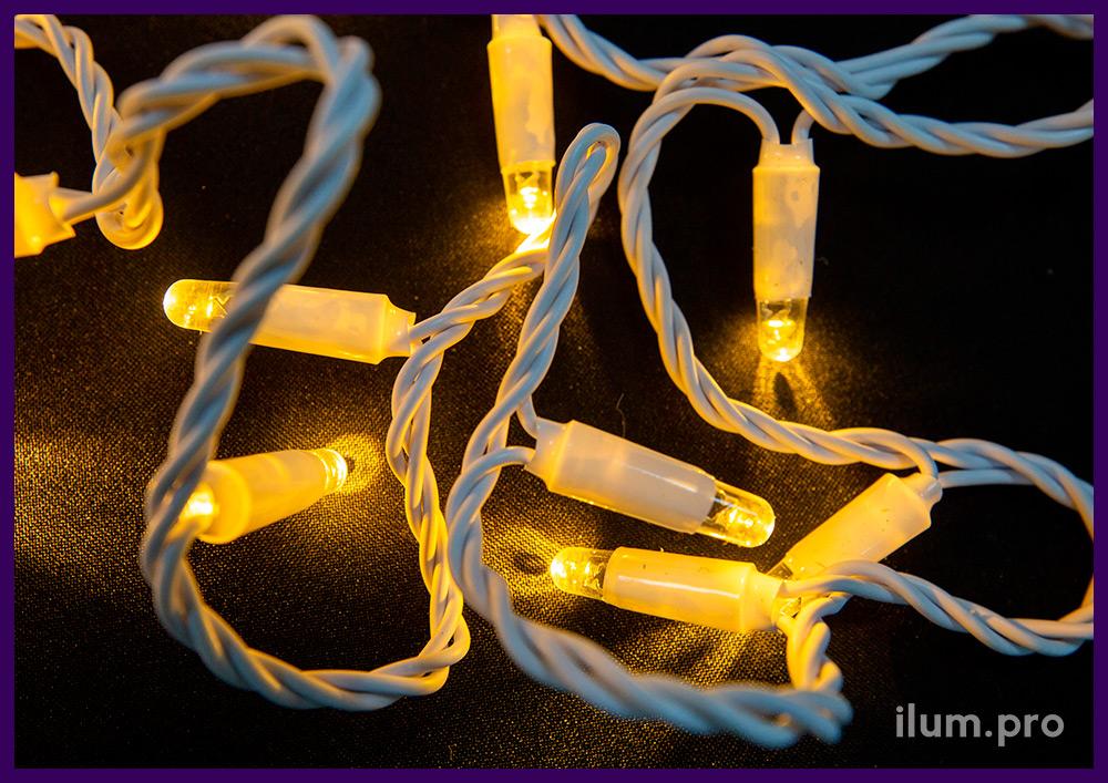 Гирлянда тёпло-белая светодиодная на белом проводе Нить, статическое свечение, 220 В