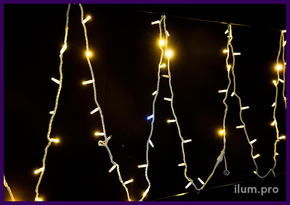Гирлянда длиной 10 метров, стринг с эффектом мерцания, кабель из белой резины, тёпло-белый