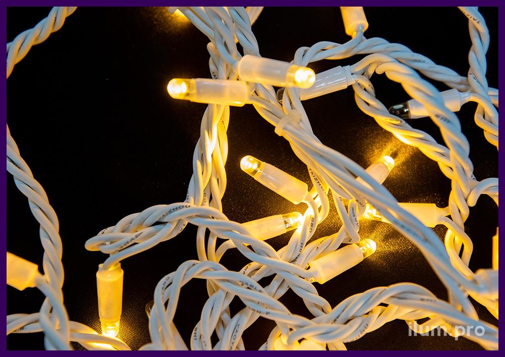 Стринг мерцающий светодиодный с белым каучуковым кабелем, тёплое свечение, IP65