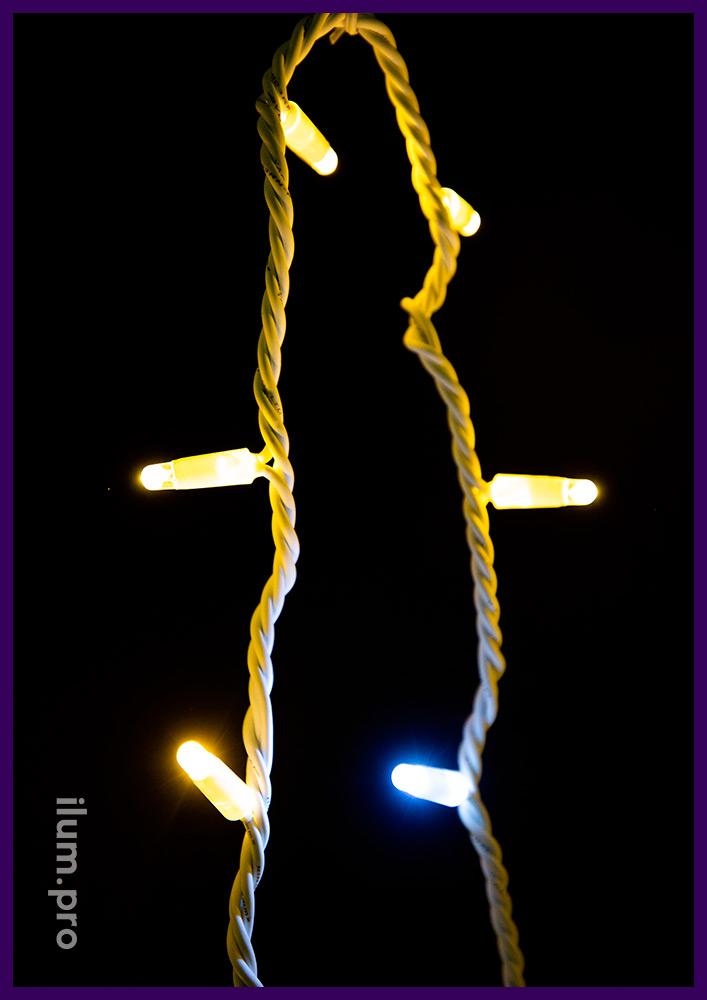 Иллюминация с защитой от осадков и мороза с резиновым проводом, мерцающий стринг 10 м, тёплое свечение