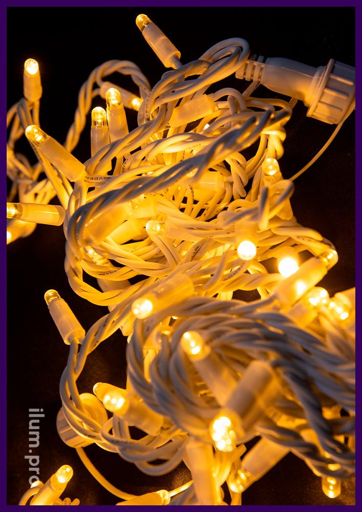 Морозостойкая светодиодная гирлянда стринг тёпло-белого цвета, белый резиновый провод, статика, 10 м