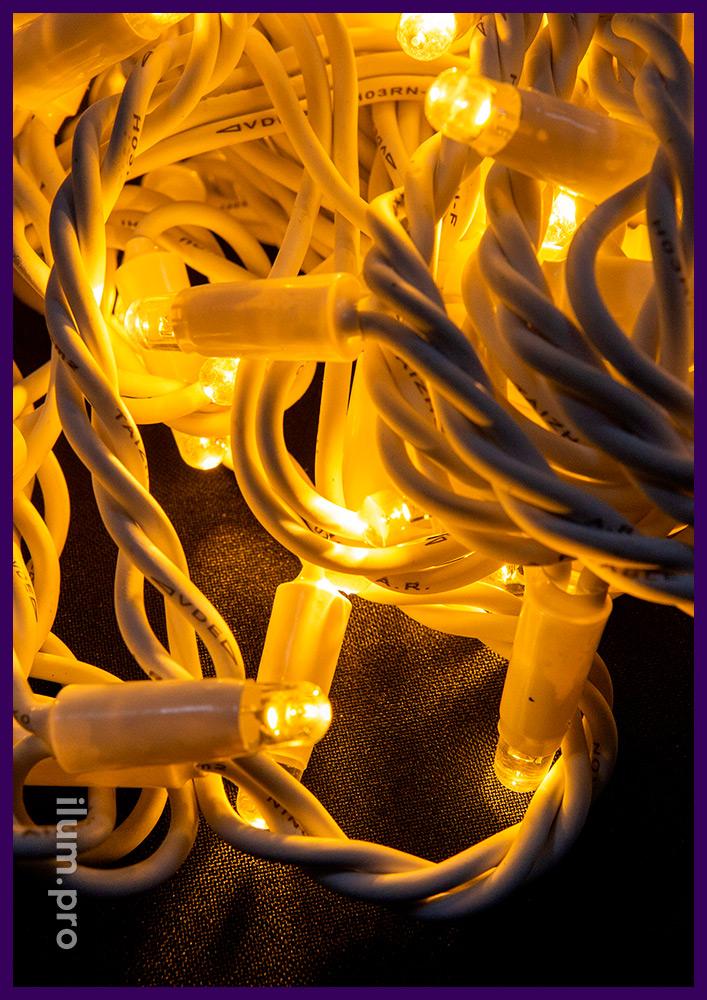 Профессиональная гирлянда нить (стринг) с защитой от осадков и мороза, тёплое статическое свечение, 10 м