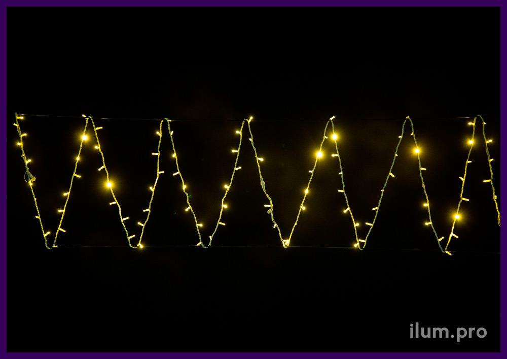 Статическая светодиодная гирлянда нить (стринг) тёплого свечения, кабель белого цвета из резины, защита от осадков и мороза IP65