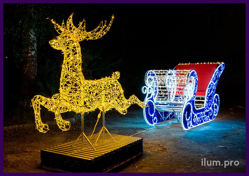 Сани Деда Мороза и светящийся олень - новогодняя фотозона для установки на улице