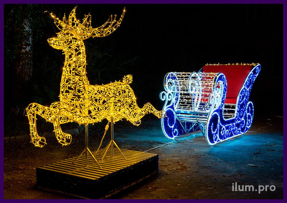 Фотозона из гирлянд и мишуры на металлическом каркасе - олень и сани Деда Мороза