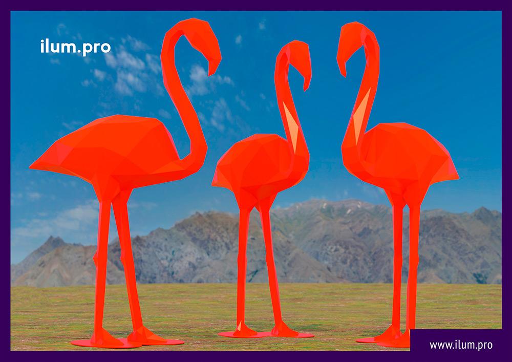 Полигональные скульптуры фламинго из металлического каркаса и краски - проект установки