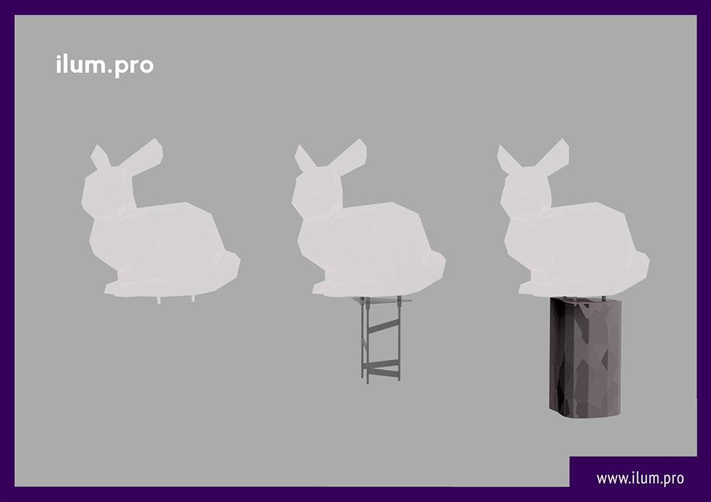 Установка необычной фотозоны в форме полигонального зайца для украшения города