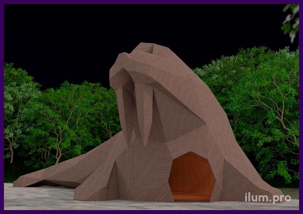 Горка в форме моржа из дерева на металлическом каркасе - проект установки