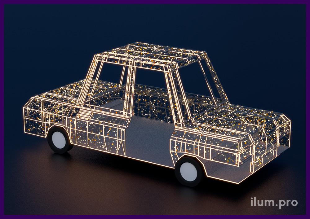 Машина из гирлянд и дюралайта на металлическом каркасе, новогодняя фотозона в ТЦ