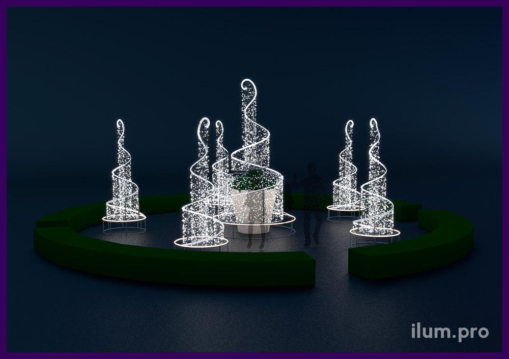 Светодиодные фонтаны из гирлянд и гибкого неона для украшения клумб