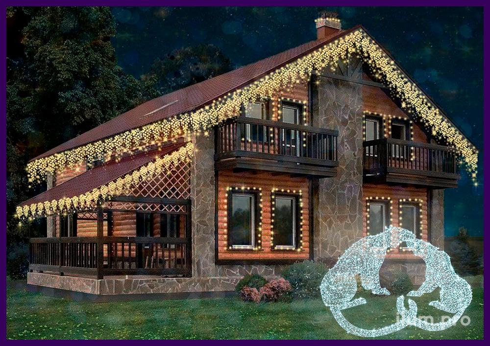 Светодиодные фигуры тигров из гирлянд, подсветка фасада и крыши частного дома