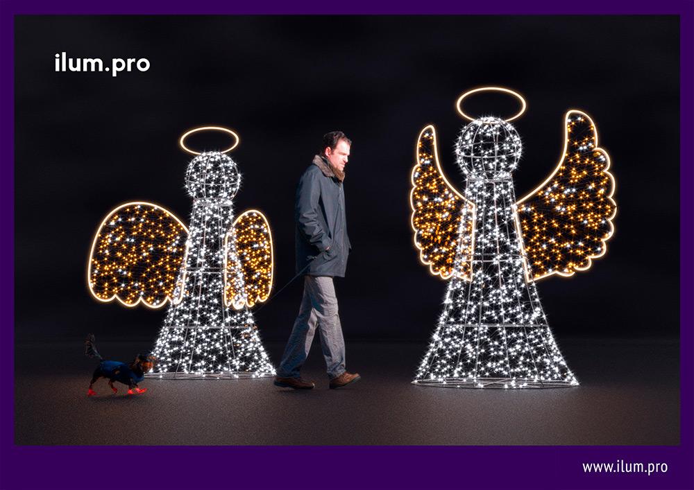 Светодиодные фигуры ангелов из гирлянд и дюралайта на каркасе из алюминия - 3D-рендер