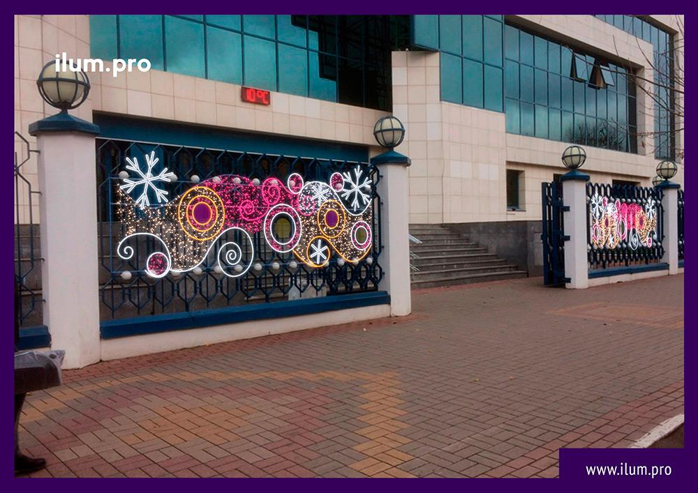Новогодние консоли из гирлянд и дюралайта для установки на улице - разноцветные узоры