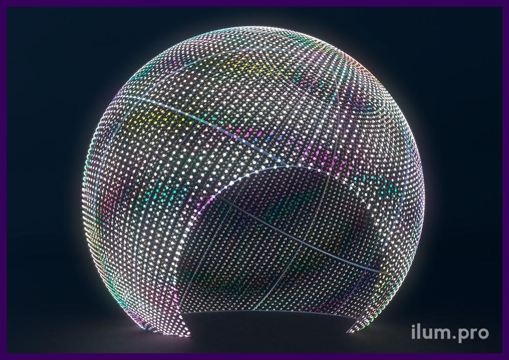 Светодиодный шар в форме ёлочной игрушки с аркой внутри, эффект воспроизведения видео