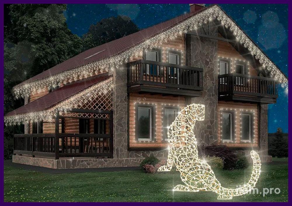 Проект украшения частного дома светодиодной бахромой и фигура тигра с гирляндами