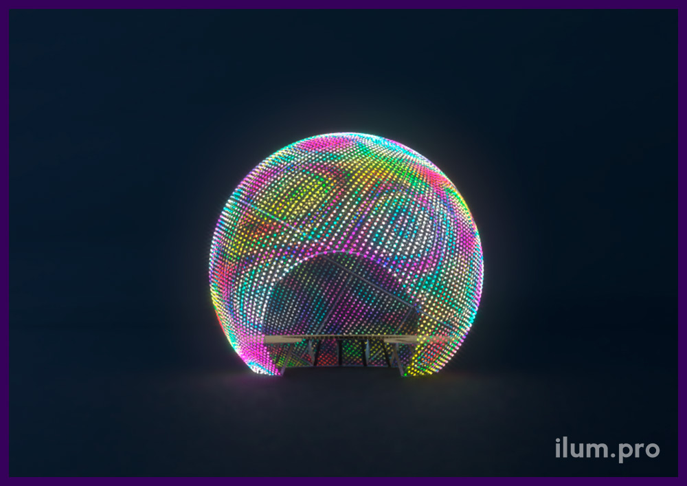 Шар светодиодный разноцветный с эффектами и возможностью воспроизведения видео