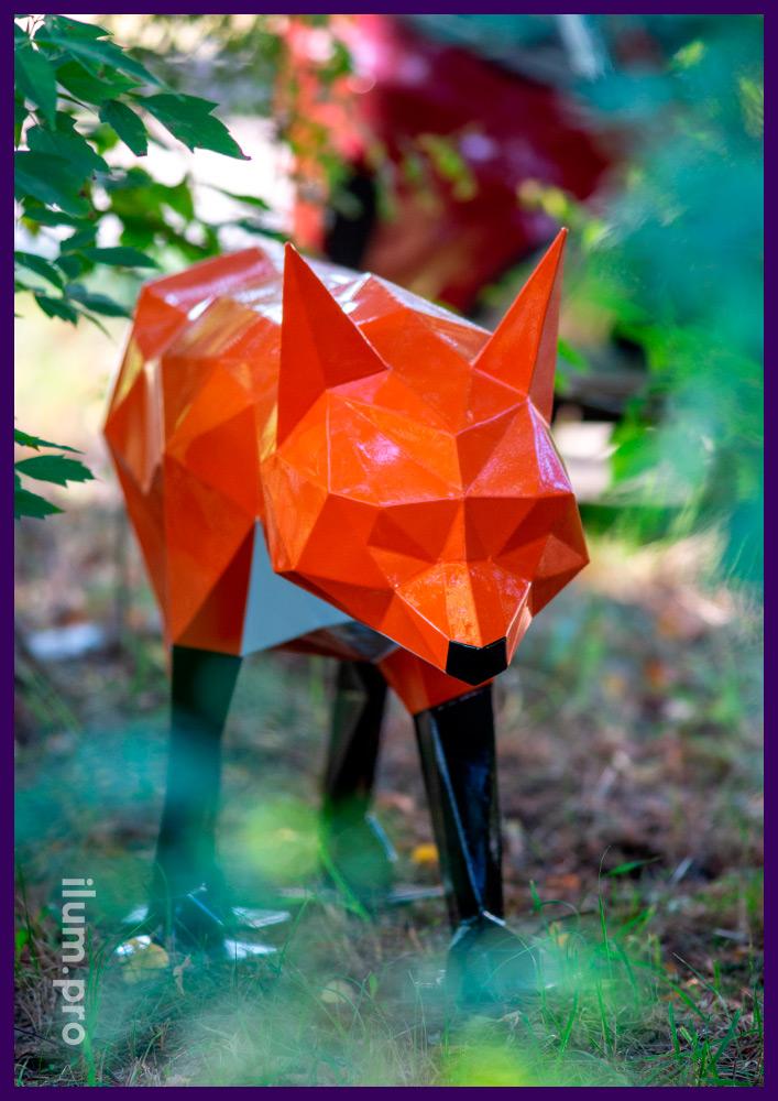 Лис оранжевый полигональный из металла - полая объёмная скульптура с слоем ЛКП