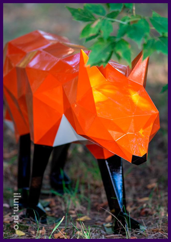 Разноцветная полигональная скульптура лисы из металла, арт-объект для украшения ландшафта