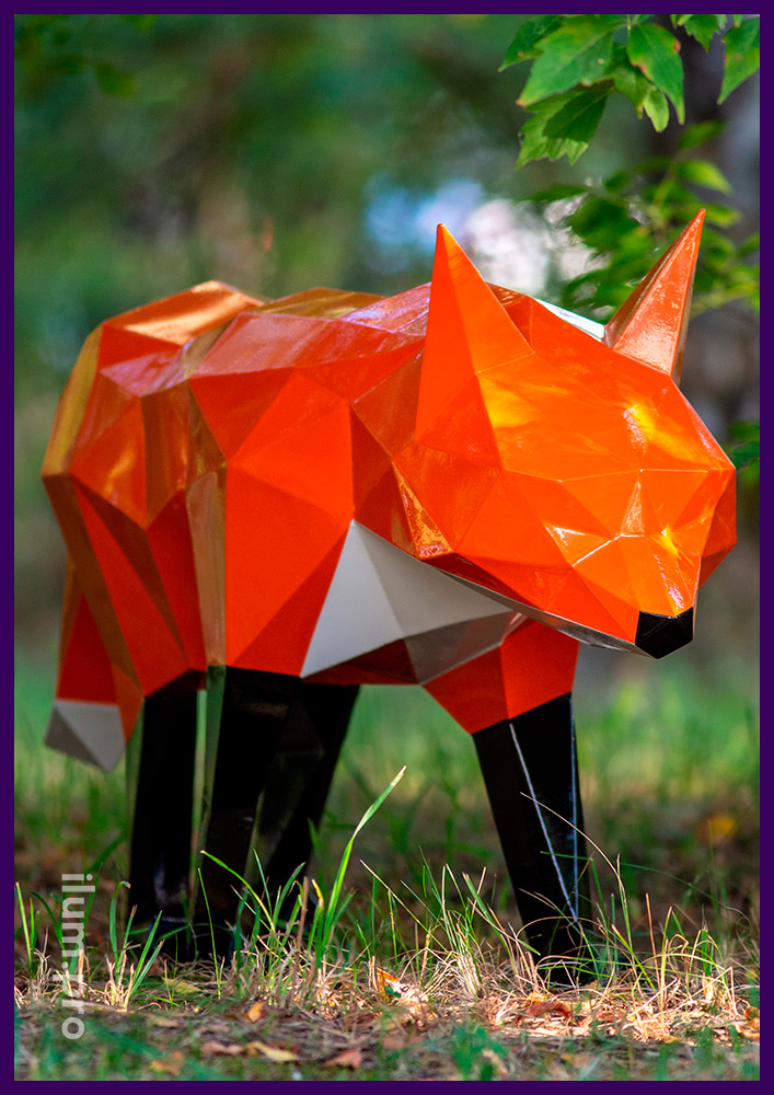 Лис полигональный стальной - крашеный арт-объект с порошковой краской и разноцветными элементами