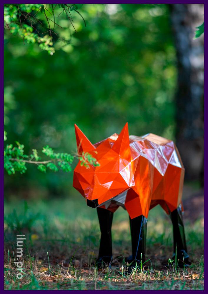 Лис полигональный разноцветный из крашеной стали - арт-объект для парка и сада